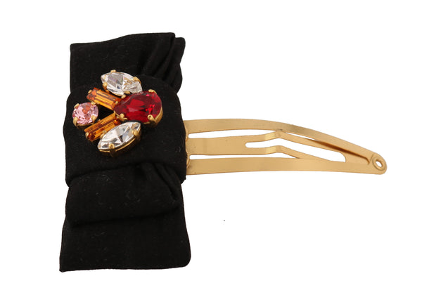 Gold Brass Crystal Cotton Bow Hair Clip