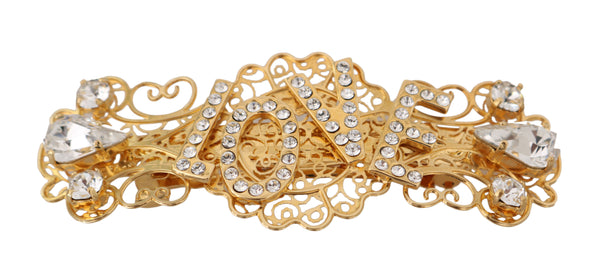 Gold Brass Clear Crystal LOVE Hair Clip