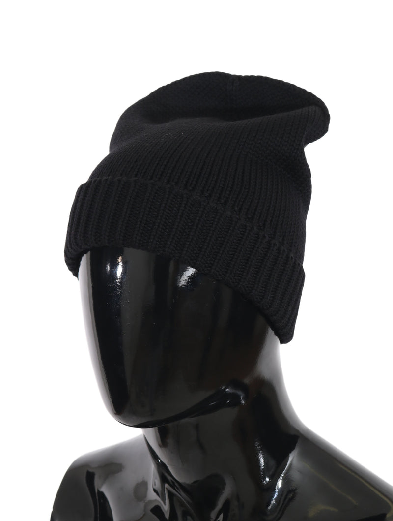 Black Beanie Wool Knitted Winter Warm  Hat