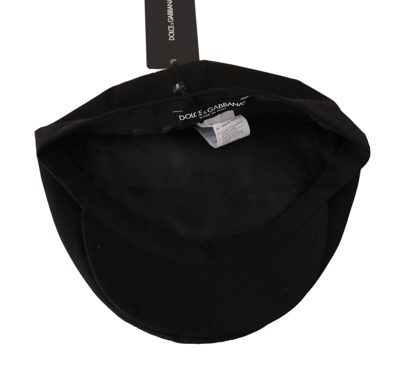 Black Cotton Stretch Logo Newsboy Cap