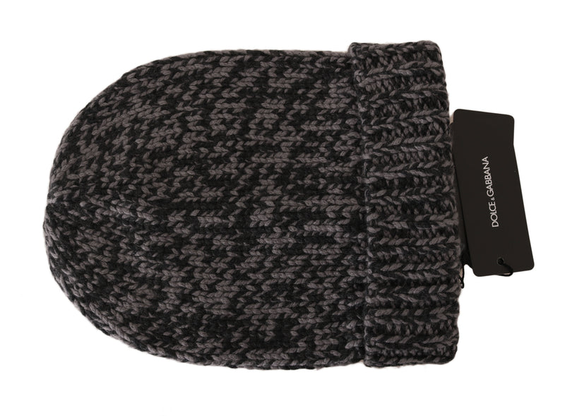 Black Gray Beanie Winter Cashmere Warm Hat