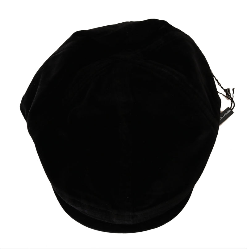 Solid Black Velvet Logo Badge Newsboy Cap
