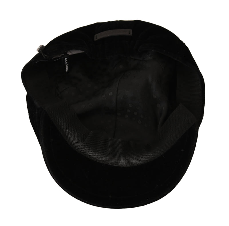 Black Velvet Stretch Logo Badge Newsboy Hat