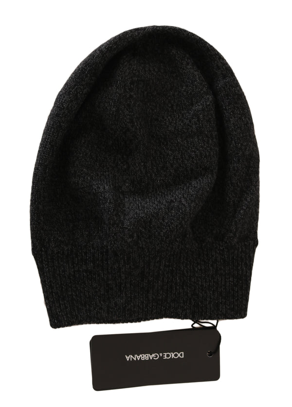 Gray Black Beanie Wool Knit Warm Winter Hat
