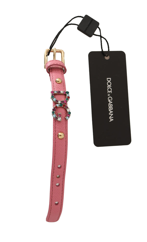 Pink Dauphine Leather Crystal DG Bracelet