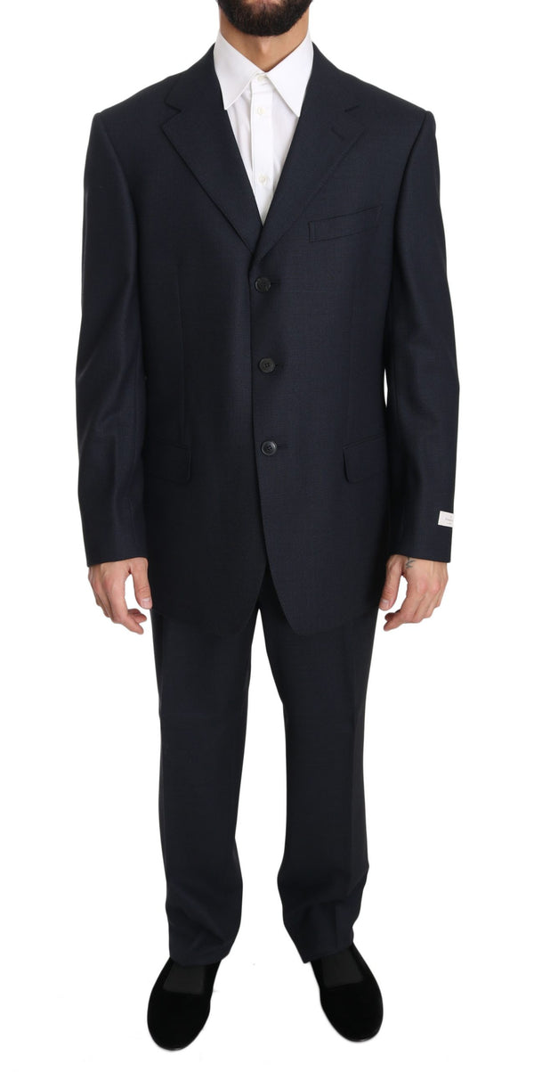 Black Solid 2 Piece 3 Button Wool Suit