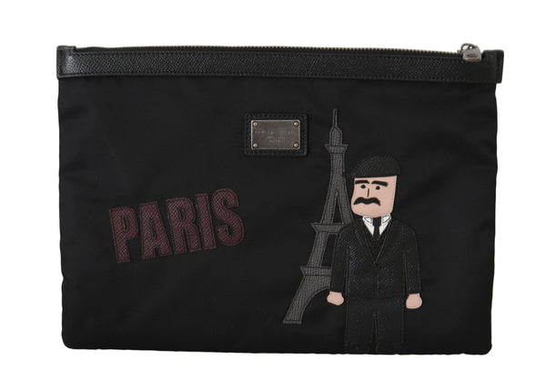 Black PARIS #dgfamily Canvas Leather Bag
