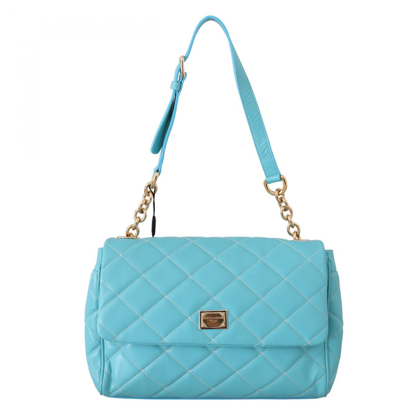 Blue Quilted Leather Hand Shoulder Satchel Purse
