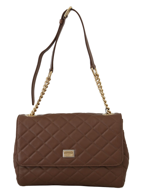 Brown Quilted Leather Hand Shoulder Satchel Purse