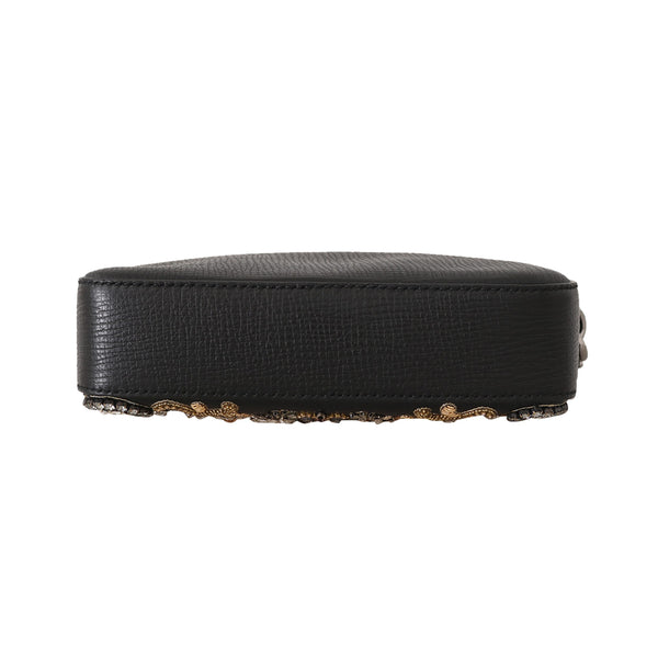 Black Leather Crystal Beaded Clutch Toiletry Wallet