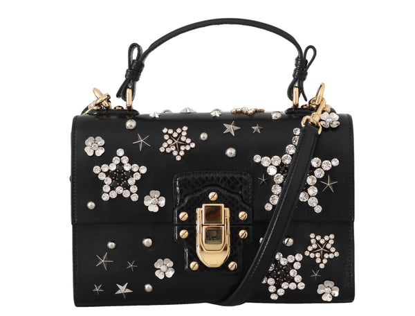 Black Leather Star Crystal Shoulder LUCIA Purse