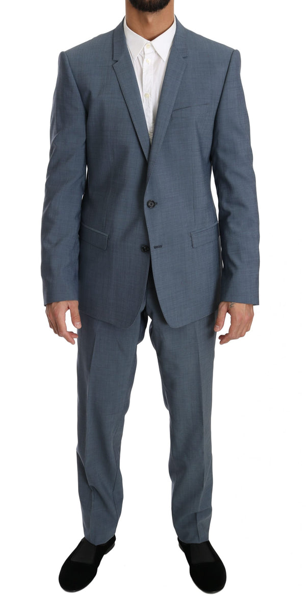 Light Blue Wool Stretch Gold Slim fit Suit