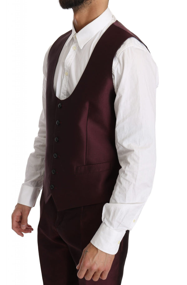 Slim Fit Bordeaux Silk 3 Piece MARTINI Suit