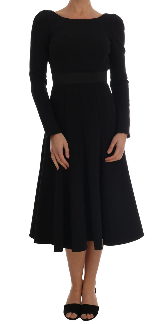 Black Open Back Sheath Flare Gown Dress