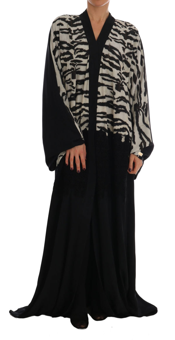 Black Zebra Kaftan Abaya Cape Silk Dress