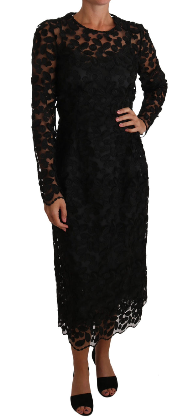 Black Floral Embroidered Midi Lace Dress