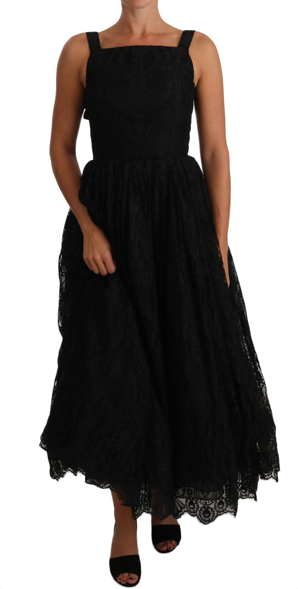 Black Ball Lace Floral Ruffle Bows Dress