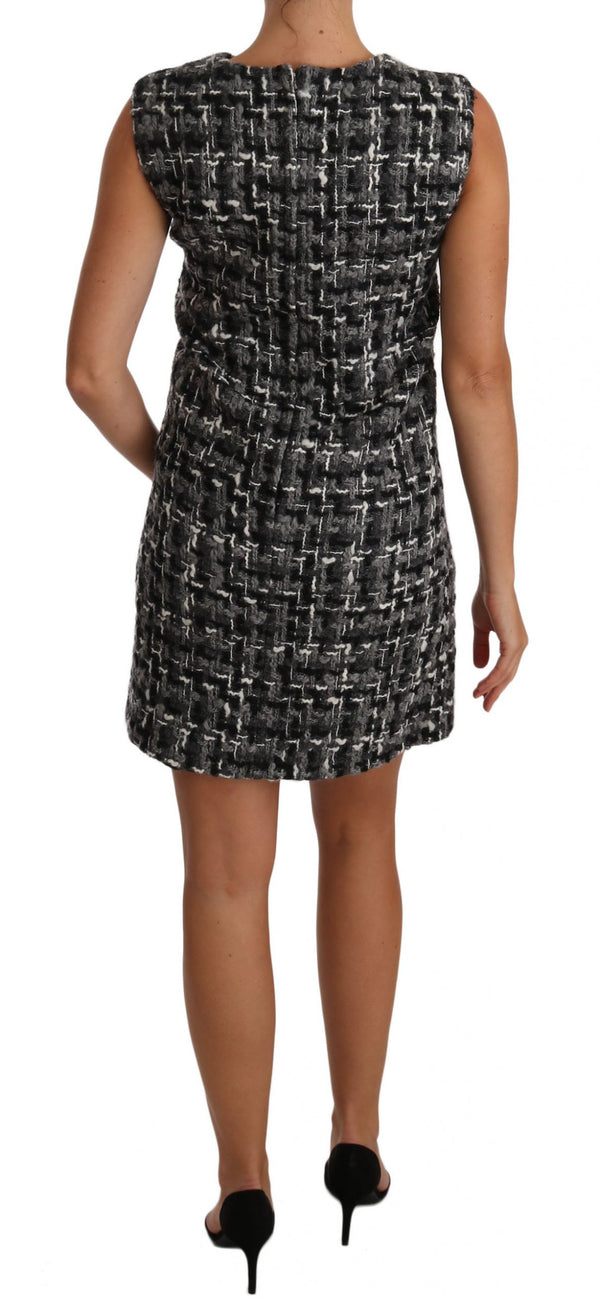 Gray Mini Shift Checkered Check Dress