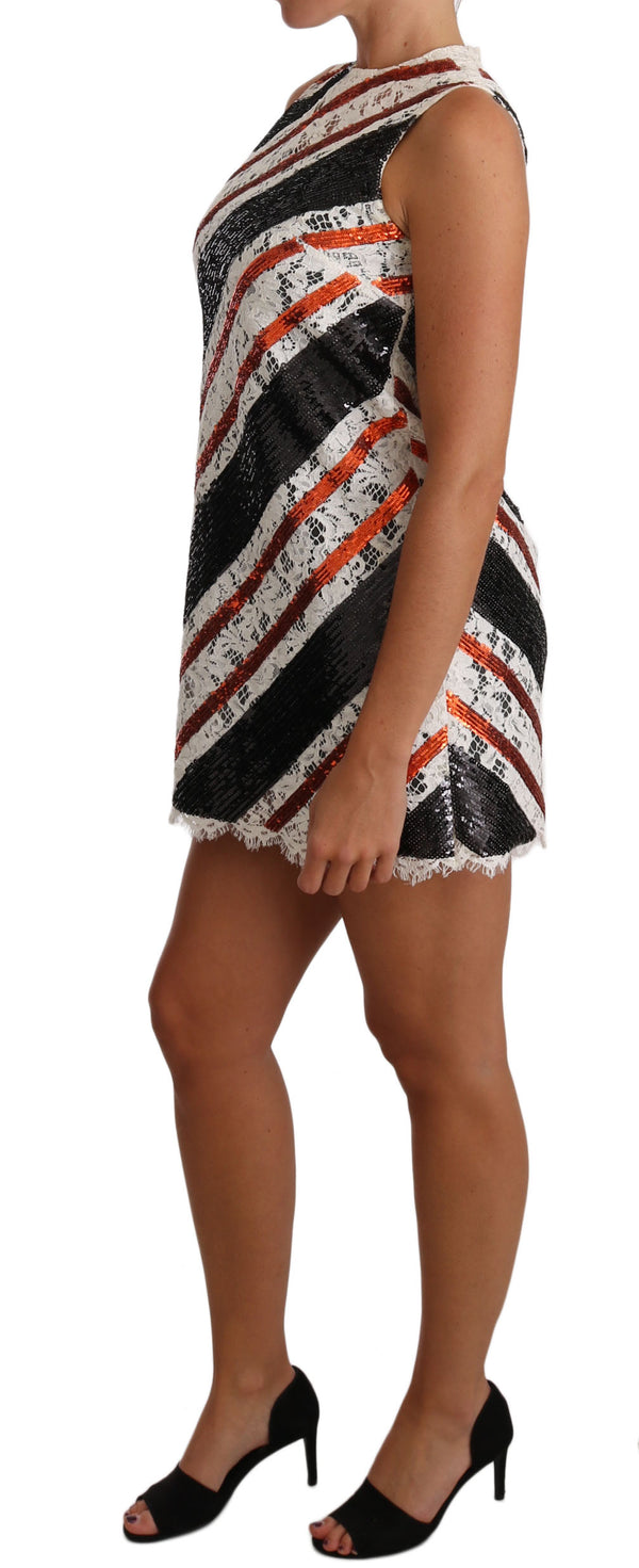 White and orangeSequin Floral Lace Embellished Shift dress