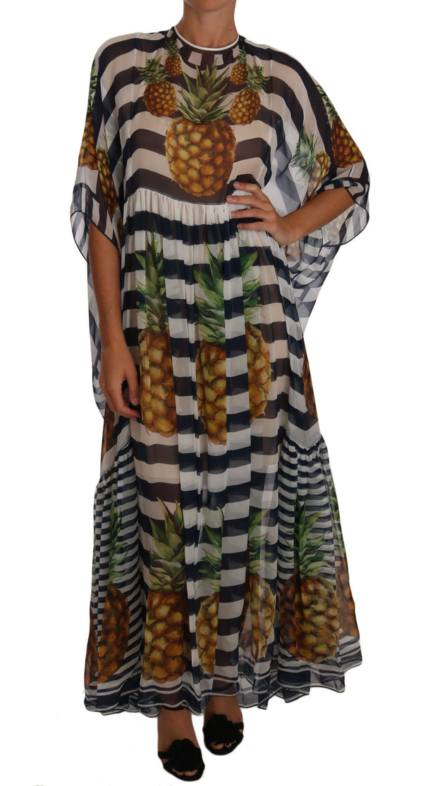 Blue White Silk Striped Pineapple Tunic Gown Maxi Dress