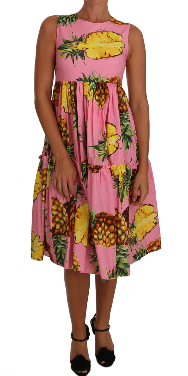 Pineapple-Print A-line Sheath Pink Dress