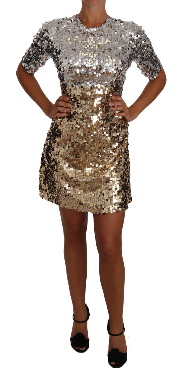 Gold Silver Sequined Sheath Gown Mini Dress
