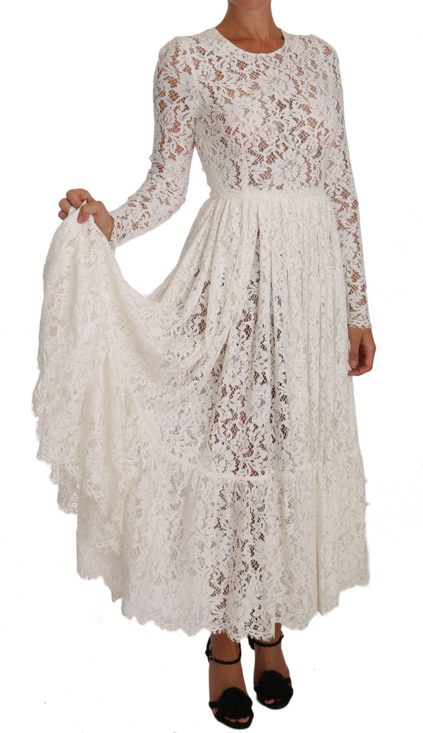 White Silk Floral Wedding Lace Gown