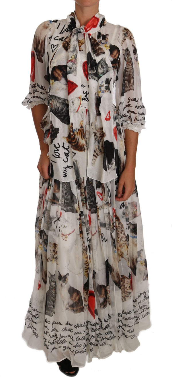 White Bengal Cat Long Maxi Gown silk Dress