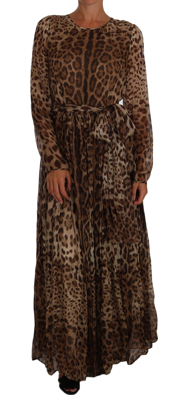 Brown Leopard Silk Full Gown Maxi Dress
