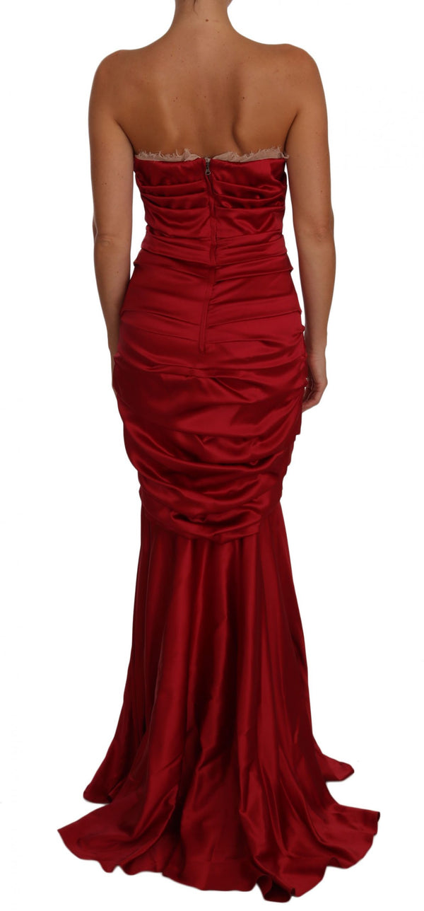 Red Ruched Satin Meraid Maxi Dress
