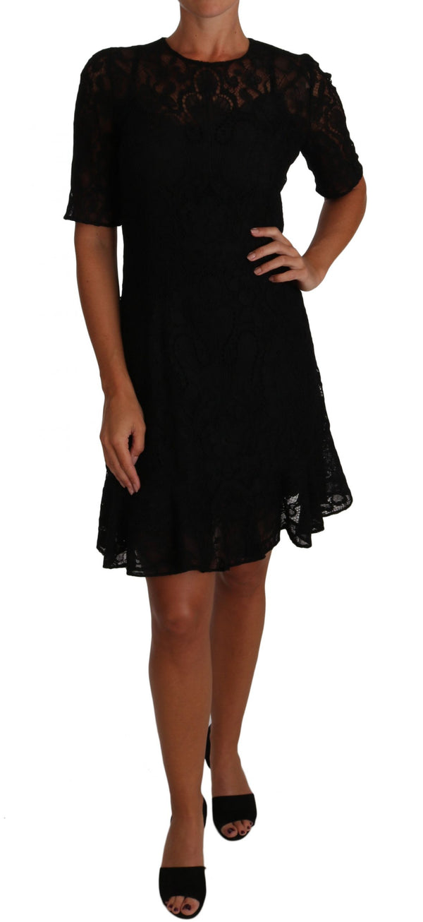 Black Floral Lace Sheath Short Sleeves Dress