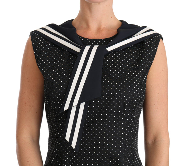Black Cotton Stretch Polka Crystal Dress