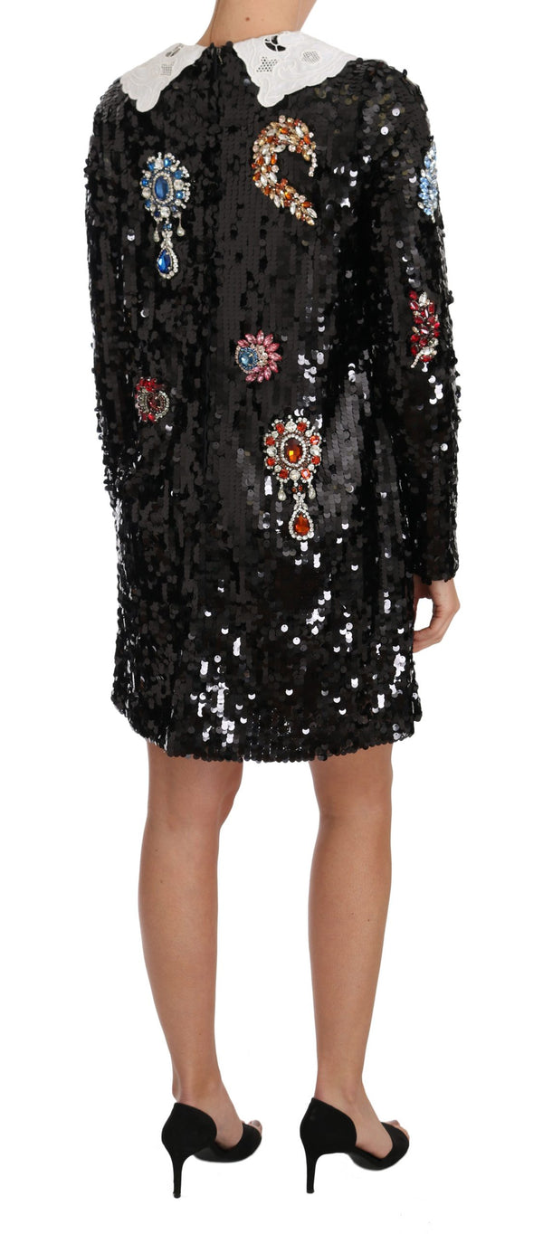 Black Sequined Crystal Fairy Tale Dress