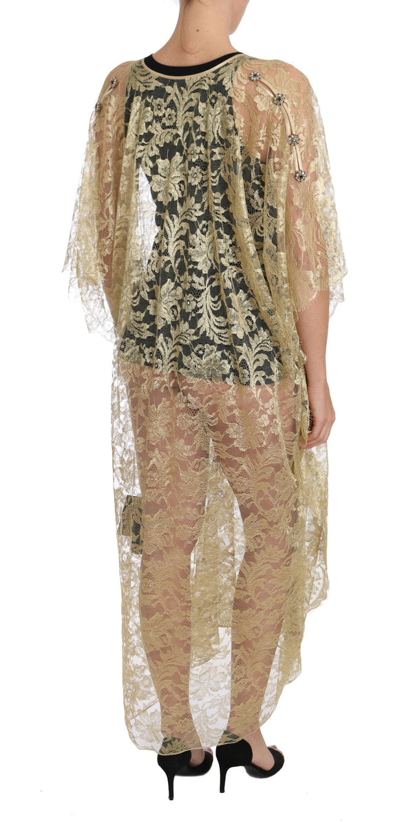 Gold Floral Lace Crystal Gown Cape Dress