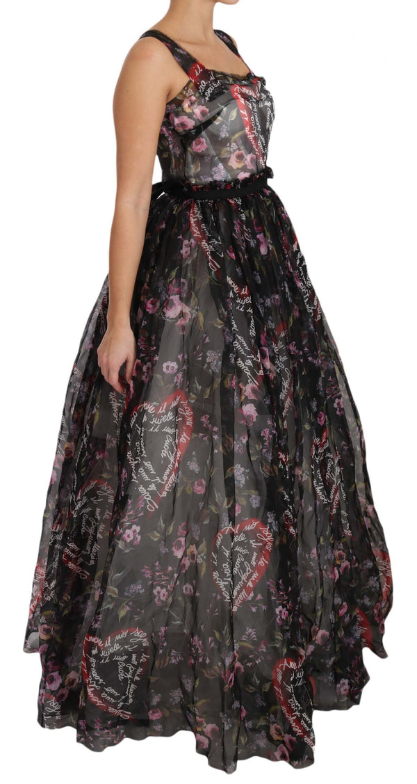 Black Silk Floral Heart A-Line Dress