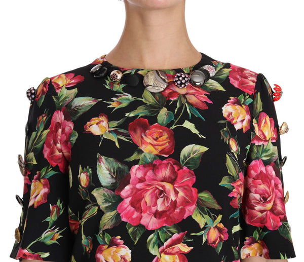 Black with multicolor Crystal Roses A-Line Shift Dress