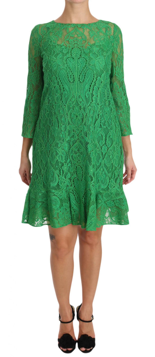 Green Floral Lace Shift A-Line Dress