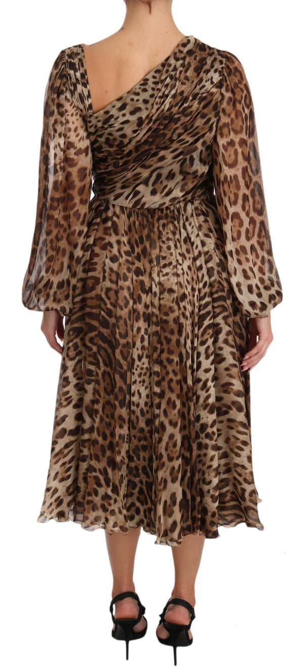 Brown Leopard Silk Wrap A-Line Dress