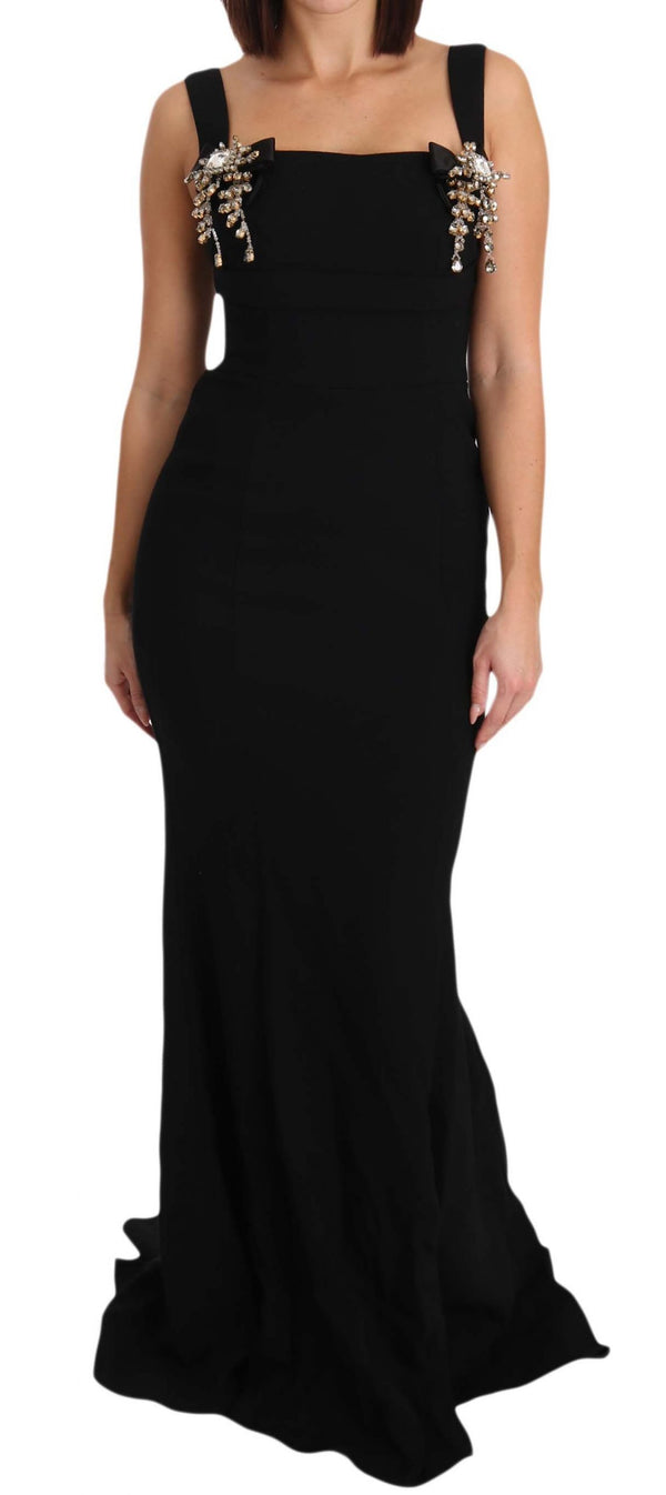 Black Stretch Crystal Fit Flare Gown Dress