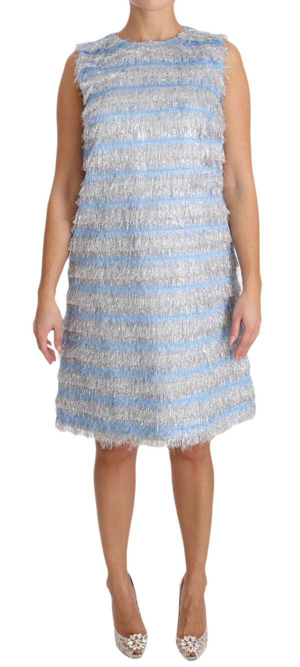 Light Blue Silver Shift Gown Dress