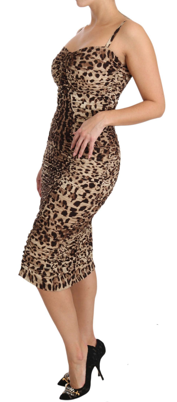 Brown Leopard Silk Sheath Bodycon Dress