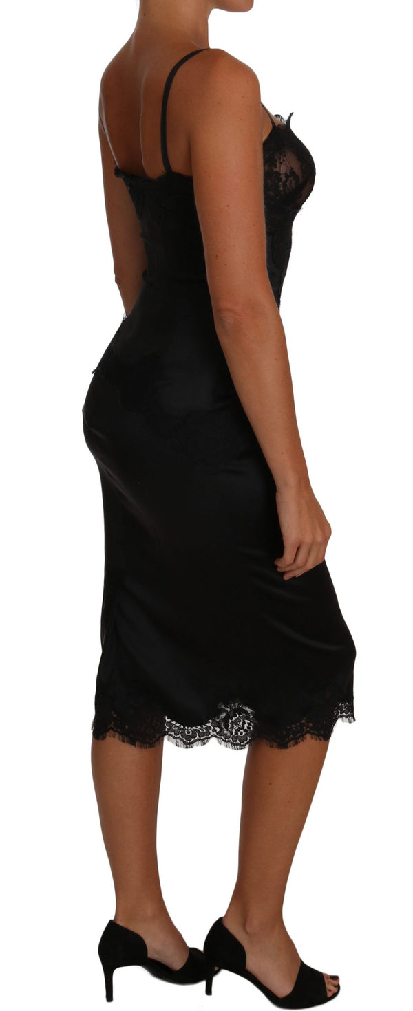Black Silk Stretch Black Lace Bodycon Dress