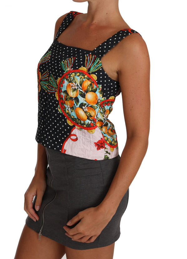 Orange Pattern Brocade Cami Blouse Top