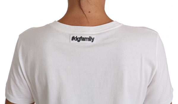 White Cotton #dgfamily T-shirt