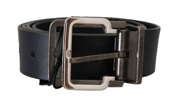 Blue Leather Silver Metal Buckle Belt