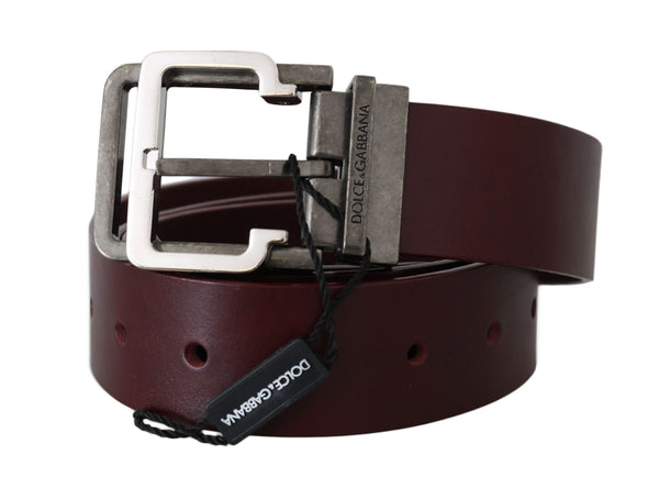 Bordeaux Leather Silver Metal Buckle Belt