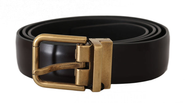 Brown Leather Logo Brushed Gold Buckle Belt