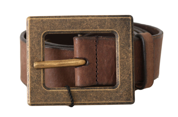 Brown Leather Brushed Gold Buckle Wide Belt