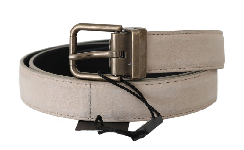 Beige Suede Leather Gold Brushed Buckle Belt