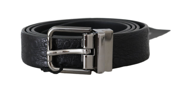 Black Toad Skin Leather Silver Buckle Belt